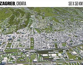 Zagreb Croatia 50x50km 3D