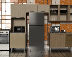 Kitchen props pbr low poly 3D model