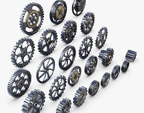 3D Gears Set Low Poly v 1