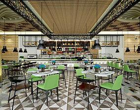 Restaurant and Serving Area Inside Hotel 3D