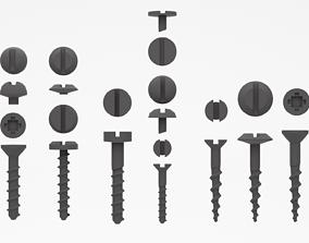 Screws set bolt 3D model