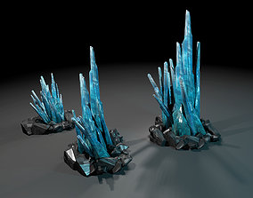 Crystals low-poly 3D asset