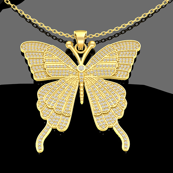 Butterfly Pendant Jewelry Gold 3D Print Model.