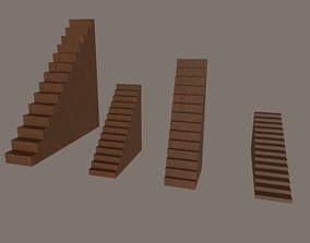 upstairs 3D model game-ready Stairs