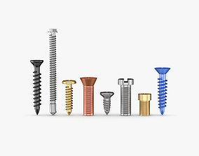 Screws Collection 7 Types 3D