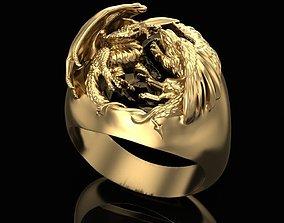 3D printable model Ring Griffon and Dragon