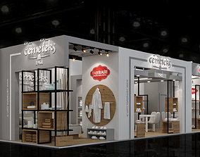 12x4 Textile Exhibiton Stand 3D Model 2 Sides Open