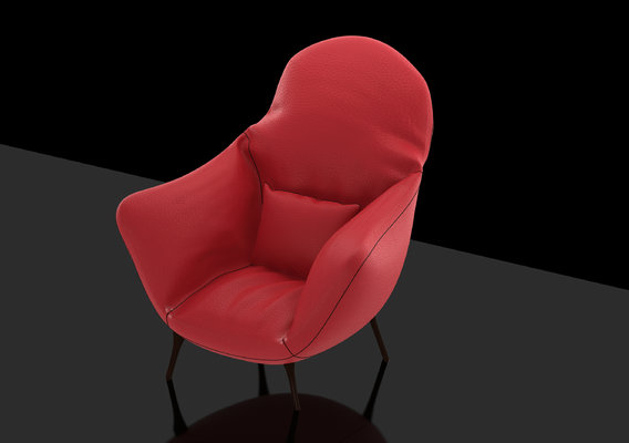 Comfortable Sofa Design, Red Leather & Black Leather, Materials Lights Rendering 3DSMAX
