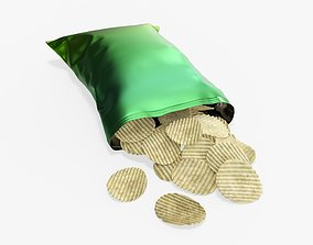 3D model Potato chips package on ground with folds 2