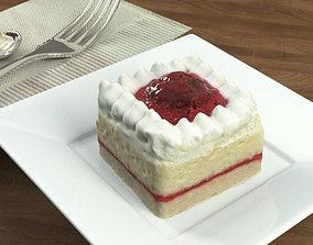 3D model Cake Cherry Strawberry