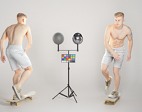 Athletic young man riding a skateboard 3D asset