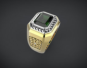 Men ring with green stone 3D printable model