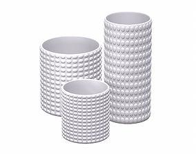 White Geometric Decor Vase SET 3D