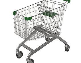 Green shopping cart 3D