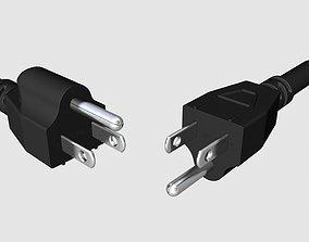 NEMA 5-15 US electrical plugs electronics 3D model