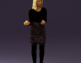 Woman in black yellow hairs 0412 3D Print ready