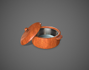 Steel and Wood Bowl with Cover 3D asset