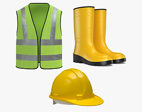 3D model Worker Safety Equipment - Worker Vest - Rubber 3