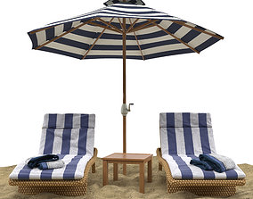 3D Beach umbrella and chaise longue