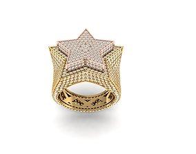 3D printable model star ring full diamond v4