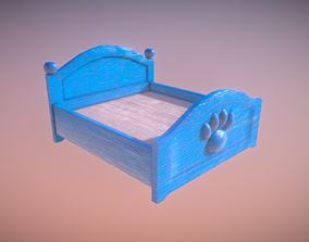 Blue Cute Paw Bed Low Poly Game Ready 3D model