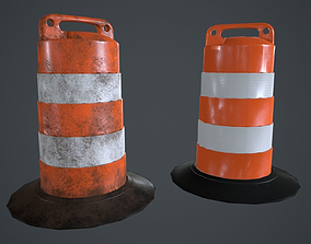 Traffic Barrel PBR Game Ready 3D asset