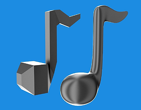 low-poly Musical note 3D
