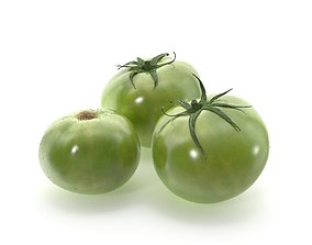 Green tomatoes with drops of water 3D model
