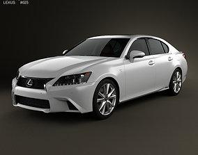 3D model Lexus GS F Sport hybrid L10 with HQ interior 2012