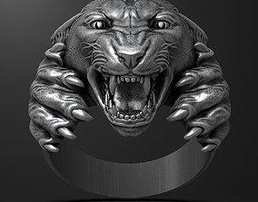Panther ring 3D printable model gold panther