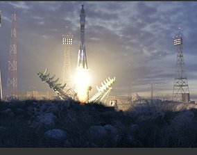 Boykonour Launch Place - with Animated Rocket 3D model