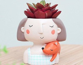 Decoration Planter Pot Cute Girl stl for 3D printing 3D