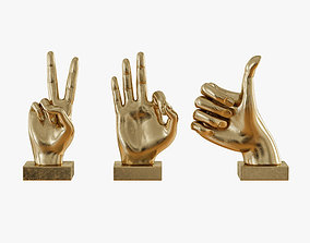Metallic Hand 3 Piece Figurine Set 3D model