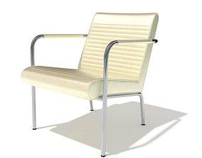 3D White Cushioned Chair