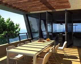 3D model Terrace Balcony With Wood Flooring