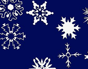 snowflakes 3D print model winter