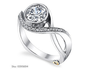 3D print model Solitaire Fancy Woman Diomand Ring