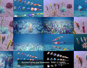 Stylized Fishes and Seaweeds - RAW 3D