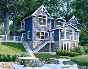 HOUSE - BLUE SIDING 3D model