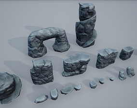3D model Stylized rocks asset