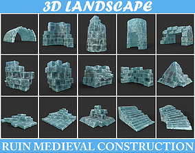 Low poly Frozen Ice Ruin Medieval Construction 3D model