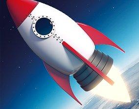 3D model Cartoon Rocket Ship V2