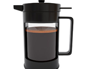 3D model French press with coffee
