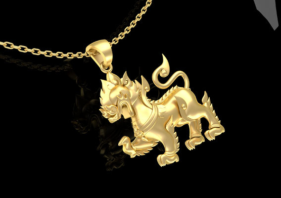 Singha sculpture Pendant Jewelry Gold 3D print model
