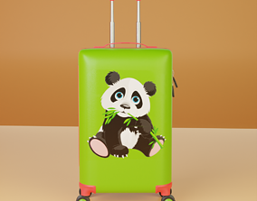 3D model Children travel suitcase Panda