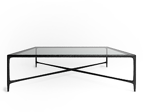 Thaddeus forged iron and glass rectangular coffee table 3D