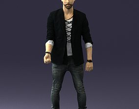 Stylish man in a jacket with a beard 0220 3D model