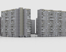 Pack of 6 Russian Panel Apartment Buildings 3D asset