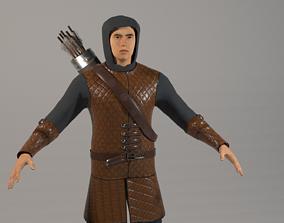 3D model VR / AR ready Archer Man Pack PBR Rigged
