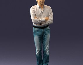 Middle aged man in shirt and jeans 0164 3D Print